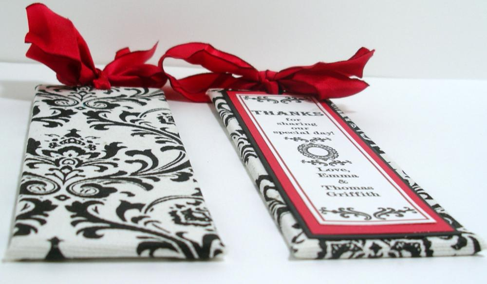 Handmade Wedding Bookmarker Favors - Black White & Red Damask Theme - (custom colors available)