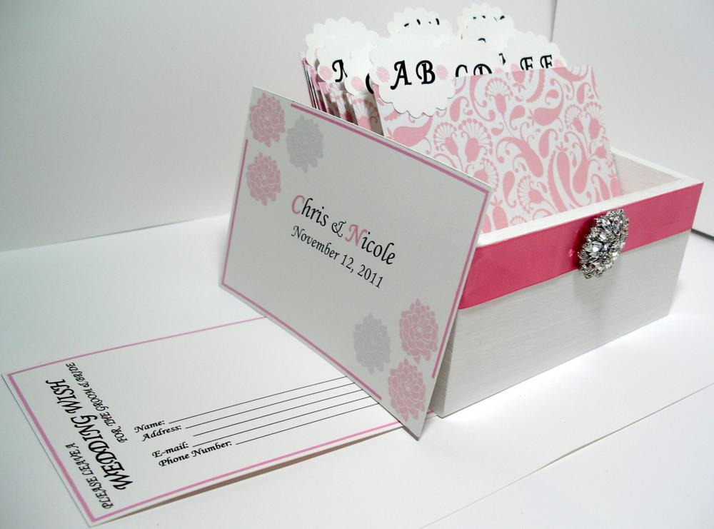 Custom Wedding Guest Box & Cards - Pink, White and Silver Damask (custom colors available)