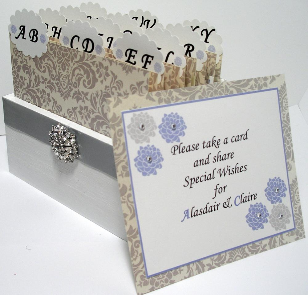 Custom Wedding Guest Box & Cards - Damask Grey, White and Powder Blue Theme (custom colors available)