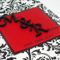 Wedding Guestbook/Album - Black & White Damask w/Red Ribbon (custom colors available)