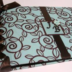 Wedding Guestbook/Album - Chocolate Blue Swirls with Chocolate Ribbon (custom colors available)