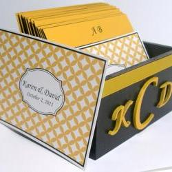 Custom Wedding Guest Box & Cards - Black, Yellow and White w/Couple Monogram (custom colors available)