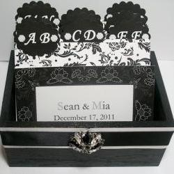 Custom Wedding Guest Box & Cards - Black, White and Silver Damask (custom colors available)