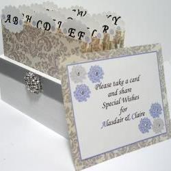 Custom Wedding Guest Box &amp; Cards - Damask Grey, White and Powder Blue Theme (custom colors available)