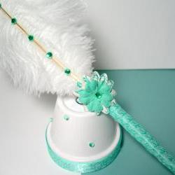 Ostrich Feather Pen &amp; Stand - Aqua Green and White Damask